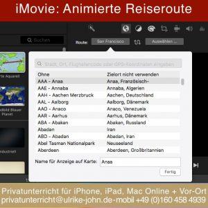 Animiere Reiseroute mit iMovie erstellen