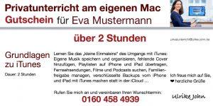 Geschenkgutschein: Gutschein für iPhone iPad Mac Unterricht verschenken